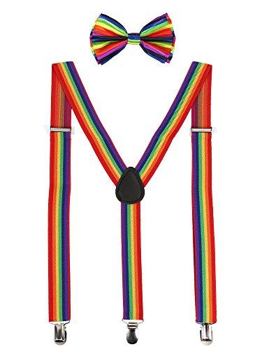 Suspender Bow Tie Set Clip On Y Shape Adjustable Braces, Pant Suspenders Shoulder Straps for Cosplay Party (Rainbow)