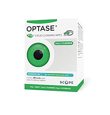 Optase Tea Tree Oil Eye Lid Cleansing Wipes - for Daily Eye Lid Hygiene and Relief for Tired and Dry Eyes