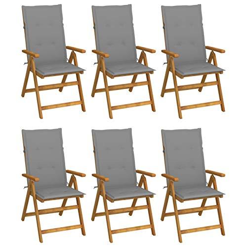 Festnight Klappstuhl 6 STK Klappbare Gartenstühle mit Auflagen Klappstuhl Holz Gartenstuhl Holz Balkonstühle Gartenmöbel Holz Terrassenstühle Massivholz Akazie