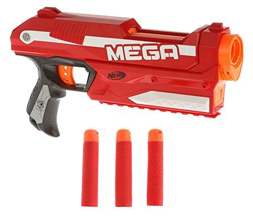 Una MEGA potenza ad alto calibro nel palmo della tua mano Il blaster compatto dalle prestazioni MEGA Lancia i dardi fino ad oltre 25 metri E' dotato di una speciale clip integrata per il caricamento istantaneo di 3 MEGA dardi