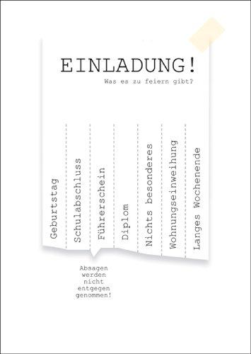 Coole Einladungskarte zum Ankreuzen mit Folio Stift Einladung! Was es zu feiern gibt? Geburtstag, Schulabschluss, Führerschein, Diplom, Nichts besonderes, Wohnungseinweihung, Langes Wochenende.