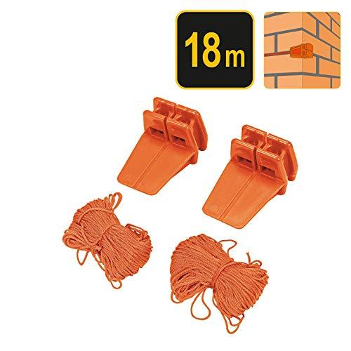 Vorel Maurerschnur mit Spannklötzen | Länge: 18 Meter | einfache Befestigung ohne nageln | extra reißfest und belastbar | Richtschnur Bauschnur Lotschnur Pflasterschnur