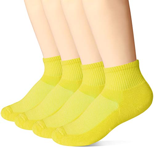 +MD 4 Pack Womens Moisture Wicking Colorful Bamboo Cushioned Quarter Ankle Athletic Socks 4Yellow9-11