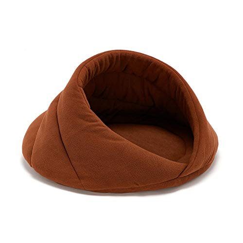 Fun-boutique Pet Dog Cat Cave Bed House Fleece Soft Sofa for Cat Kitten Dog Kennel Warm Cozy Nest for Puppy Cat Sleeping Beds-Brown-52X52X35Cm
