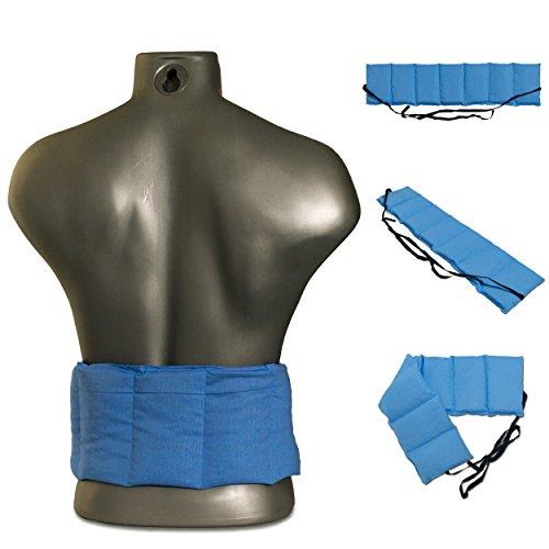 Cojín térmico para la espalda con siete compartimientos y cintas - 65x15 cm azúl claro - Faja térmica caliente y frío con semillas - Para microondas y horno - Pepitas de uva