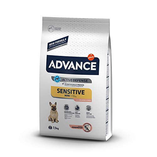 ADVANCE Sensitive Mini - Cibo per Cani Adulti con Sensibilitè Digestive e Sintomi Cutanei con Salmone - 7,5kg