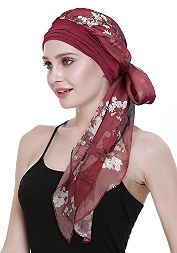 Women's Cancer Headwear Bamboo Scarf with Cap Compliments Head Wraps Chemo Turbans