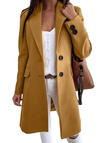 Tomwell Damen Mantel Trenchcoat Mit Gürtel Mantel Revers Faux Für Lose Langarm Outwear Tasche Reißverschluss Winterjacke Mode Kurz Coat Wollmantel A Gelb S