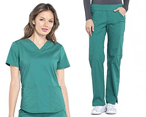 Cherokee Workwear Professionals - Conjunto de ropa quirúrgica para mujer, blusa con cuello en V y pantalón de pierna recta de talle medio