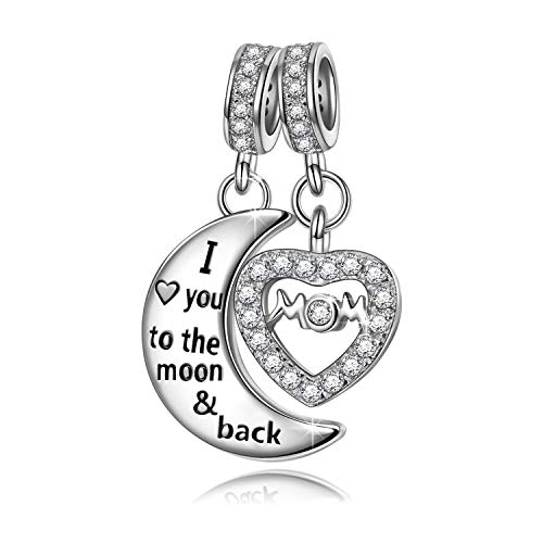 NINAQUEEN I Love You to The Moon and Back 925 Sterling Silver Dangle Charm Beads Mom Mother Daughter...