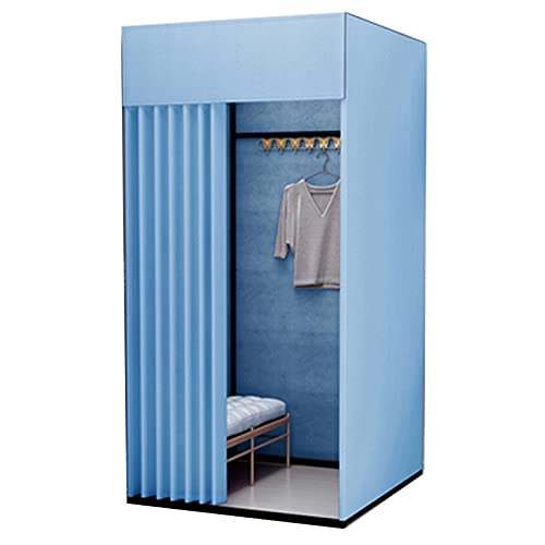 SHIJINHAO Portable Locker Room, Privacy Protection Portable Locker Room Cut Off Occlude Metal Bracket Can Be Used In Shopping Malls Specialty Stores Bedrooms (Color : Blue, Size : 100x80x200cm)
