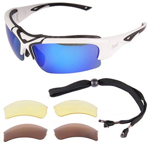 Rapid Eyewear Toledo Blanc Lunettes SOLAIRES DE Sport POLARISĖES UV400 pour Hommes et Femmes. Lunettes de Soleil avec Verres interchangeables pour Le Ski, Le Cyclisme, Running etc.