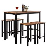Home Treats Bar Table and Stool Set | Set of 4 Breakfast Bar Stools & Dining Table | For Kitchen, Dining Room, Conservatory, Patio