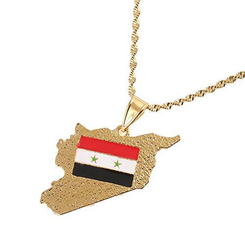Kkoqmw Collares con Colgante de Bandera de Mapa de Siria de Color Dorado