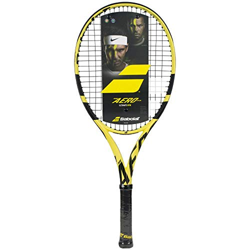 Babolat Pure Aero Junior 26' Performance Tennis Racquet (4 1/8' Grip) Strung with Babolat SG Spiraltek String in Black (Best Racket for Spin and Power)