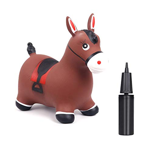 TWISBAY Bouncy Horse Hopper- Inflatable Jumping Horse  Inflatable Space Hopper with Hand Pump  Ride on Rubber Bouncing Animal Toys for Kids 3-12 Years (Brown Horse)
