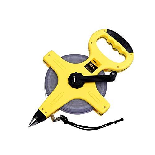 YHtech Cinta métrica de acero, 100 M portátil marco de Decoración Construcción regla de medición, Cruz Volumen cinta métrica estable Permanente (color: amarillo, tamaño: 100 m) rolmaat