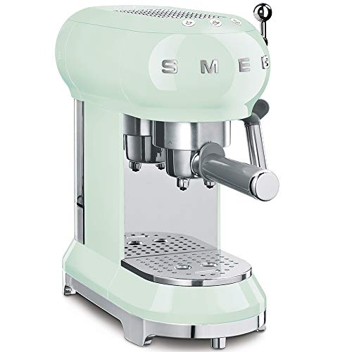 Smeg ECF01PGUK Traditional Pump Espresso Coffee Machine, Adjustable Cappuccino System, Flow Stop Function, Removable Drip-Tray, Anti-Drip System, Anti-Slip Feet, 1350 W, 1 Litre Tank, Pastel Green