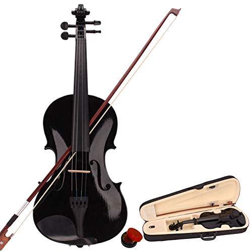 4/4 Acoustic Violin Set Full Size with Case, Bow and Free Rosin for Adults, Learners Age 11+, Black
