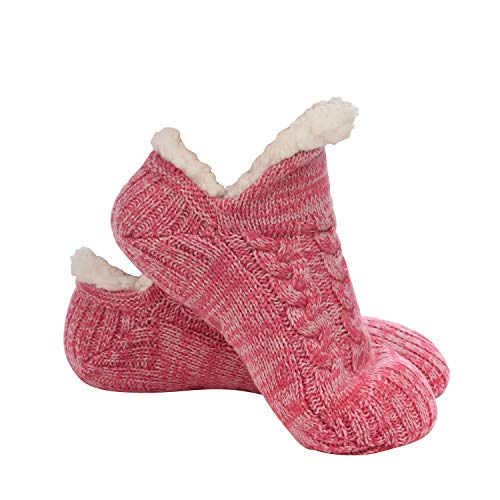 Snoozies Microcrew Cable Sherpa Lined Womens Socks - Fuzzy Socks for Women - Pink