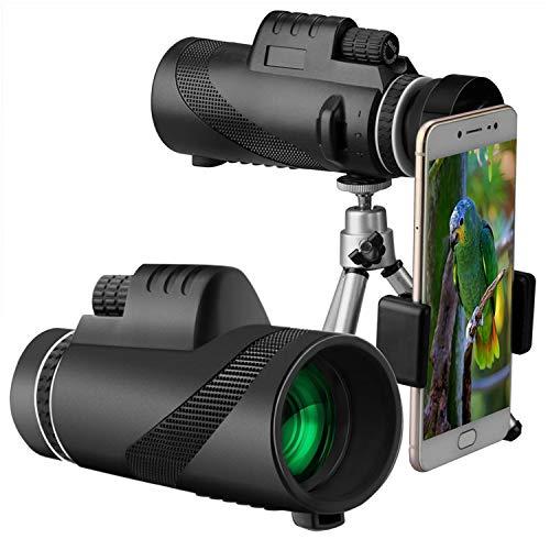 Telescopio monocular 40x60 para teléfono móvil, FMC BAK4 Telescopio impermeable equipado, telescopio de visión nocturno de baja luz con adaptador y trípode para smartphone para senderismo, caza, obser