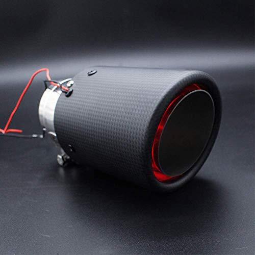 JINGLINGKJ マフラーカッター カーボン LED付き 汎用 ストレート式 オーバル型 MT AT 車用 取付簡単 後付け...