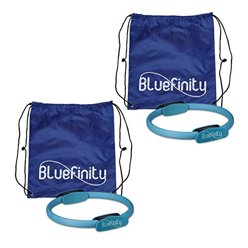 Bluefinity 2 x Pilates Ring, Doppelgriff, Gepolstert, D: 39 cm, Fiberglas, Schaumstoff, Yoga Circle, Widerstandsring, türkis