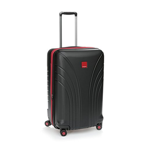 Hedgren Take Off Flight 24' Hard Sided Expandable Spinner Suitcase, Rolling Luggage with Lock and Zippered Mesh Pockets, 26.4 x 11 x 17 Inches, Unisex, Black/Red Combo
