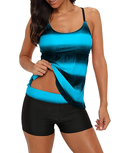 Tankini Swimsuits for Womens Swimsuits Boyshorts Two Pieces Swimsuits Sports Bathing Suit Criss Cross Back Ombre Color Plus Size S-XXXL Round Neck Blue X-Large (fits like US 10-12)