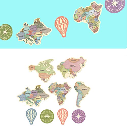 Retro World Map Banner Paper Card Bunting Garland Flag Sign for Travel Themed Party Adventure Party Graduation Party Home Family Party Decorations 2sets(9pcs/Set) (Colorful)