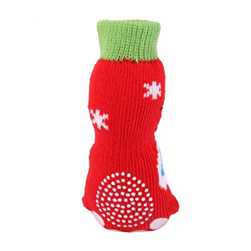 HomeDecTime Calze Antiscivolo di Natale Pupazzo di Neve Cane Cucciolo di Gatto Gatto con Stampe Zampa - Multicolore, S