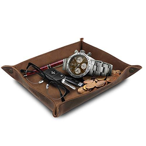Londo OTTO284 - Organizador de bandeja de piel auténtica, práctica caja de almacenamiento para carteras, relojes, llaves, monedas, teléfonos móviles y equipo de oficina, Marron Claro