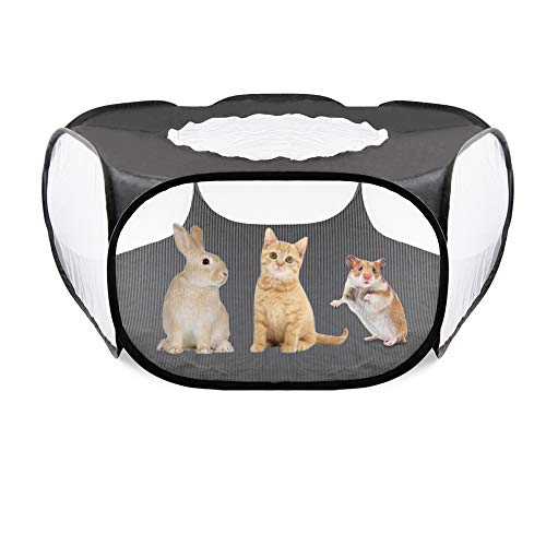 Idepet Meerschweinchen Käfig, Hamster Käfig mit tragbarem atmungsaktivem transparentem Außen/Innenhofzaun Kleintiere Käfig Zelt für Hamster Rabbit Ferret Bunny Rat Meerschweinchen Schwarz