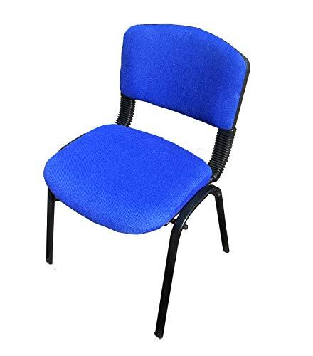 Silla apilable azul para recepción, cafetería, cantina, oficina, clase, examen, reuniones, silla apilable