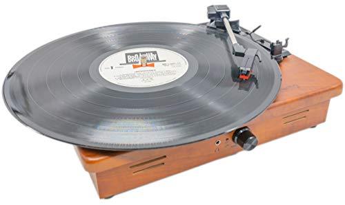 MOETATSU レコードプレーヤー ターンテーブル スピーカー内蔵 Bluetooth対応 RCA音声出力端子 33/45/78回転対応 レーコドマット付き (茶色)