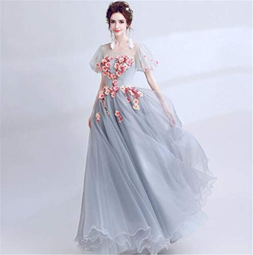 LYJFSZ-7 Elegant Frau Chiffon Pinke Blumen Hochzeitskleid Etikette Show Kleidung Traum Halbmond Grau