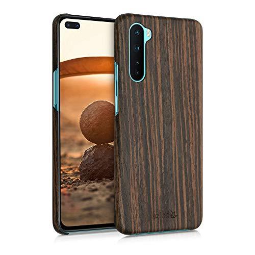kalibri Cover Compatibile con OnePlus Nord in Legno Naturale e aramide - Wooden Case Porta-Cellulare Rigida - Custodia Protettiva Ultra-Slim