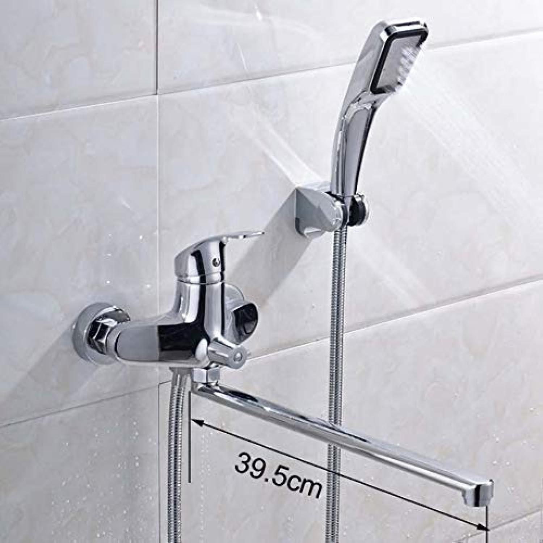 Mzdpp Chrom Drehen Lange Auslauf Badewanne Wasserhahn An Der Wand Montiert 360 Grad Schwenkauslauf Badewanne Duschmischer Kunststoff-Handbrause Mit Halterung FT-556