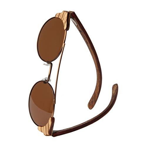 WOLA estilo de redonda gafas de sol en madera FEU mujer y hombre madera, sunglasses UV400 - polarisado zebrano