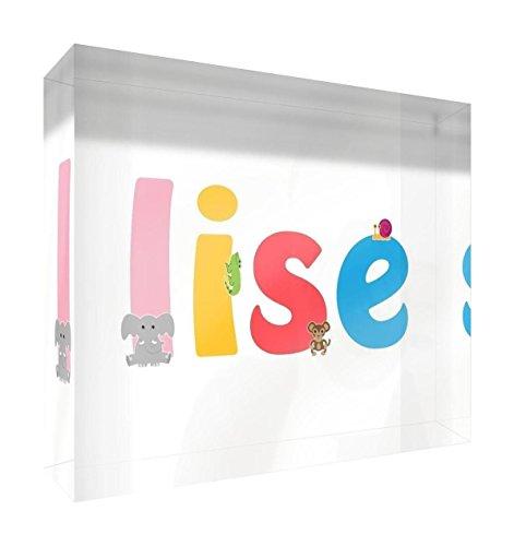 Little Helper Souvenir decorativo in acrilico trasparente lucido come Diamante Stile Illustrativo colorato con il nome di Giovane Ragazza Lise 10,5x 15x 2cm grande