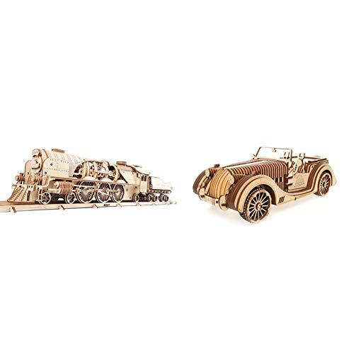 Ugears 70058 3D Express Dampflokomotive Holzpuzzle Modellbau Set Denkspiel-DIY Puzzle Lernspielzeug & VM-01 Roadster Auto-3D Holzkunst DYI – Modellbau Projekte für Erwachsene und Kinder