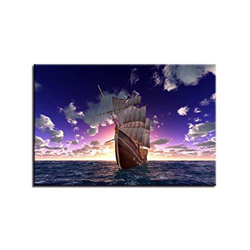 IGNIUBI Hochwertiges Poster Leinwand Ölboot Druck Gemälde für Wohnzimmer Wohnkultur Cuadros Modulare Segelbilder Abstraktes Poster ; 40x80cm ohne Rahmen