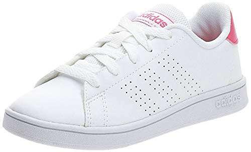 adidas Unisex Kids Advantage K Tennis Shoes, White Pink, 10 UK Child