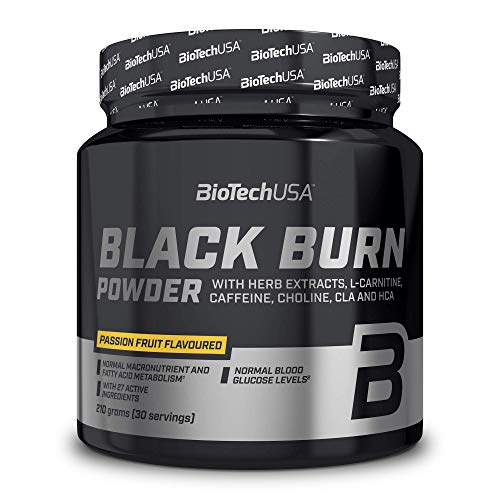 BioTechUSA Black Burn Drink Powder with Plant extracts, L-carnitine, Choline, inositol, CLA, HCA, Amino acids, Vitamins and Minerals, 210 g, Passion Fruit
