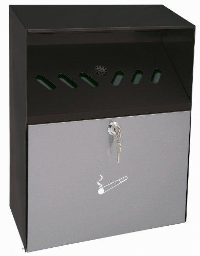 Wedo 17038112 - Cenicero de pared para exterior tipo buzón (6,8 L, tapa con llave, acero inoxidable recubierto en polvo), color negro y gris