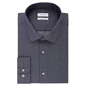 """Calvin Klein メンズ ビッグ&トール ドレスシャツ ノンアイロンヘリンボーン 無地 US サイズ: 22"""" Neck 37""""-38"""" Sleeve (5X-Large Tall) カラー: ブルー"""