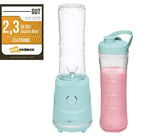 Clatronic SM 3694 Smoothie-Maker zum Pürieren, Schlagen, Zerkleinern, Shaken und Mixen, 4-Fach Edelstahlmesser, Mixbehälter auch als Trinkbecher zu verwenden, mint-grün