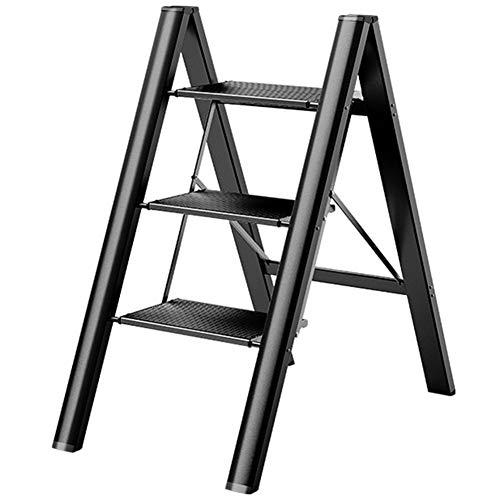 Escaleras Plegables Escalera de paso alta para niños/adultos/personas mayores, Escaleras de mano plegables de aleación de aluminio ligero negro, Uso diario doméstico industrial (Size : 3 step)