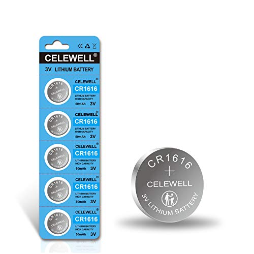 【5-Year Warranty】 CELEWELL 5 Pack CR1616 Battery for Key Fob Remote 3V Lithium Coin Cell Batteries