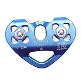 Bloque de Polea, Corazón-Forma Escalada Dispositivo con polea doble Cable de acero de cuerda de 1 m Escalada, Tirolesa alta velocidad de la carretilla 24KN (Color : Blue)